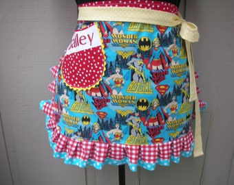 Aprons - Superwomen Aprons - Monogramed Aprons - Aprons - Wonder Woman - Bat Girll Half Aprons - Super Hero - Apron--Superwomen Hero Apron