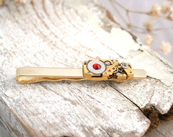Tie Bar Steampunk Swiss watch movement Tie Clip Tie Bar Wedding Gifts for Men Steampunk Wedding Tie Bar Gold Bulova Tie Clip