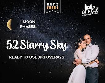 52 Starry Sky Photoshop Overlays, Star overlay, Digital stars, Star and moon, Night sky overlays, Starry overlay, Christmas overlays