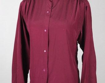 Wine Silk Peter Pan Collar Calvin Klein Long-sleeve Blouse -- Sz Lrg
