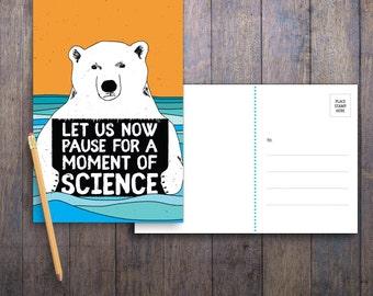 Science Bear PRINTABLE Protest Postcard