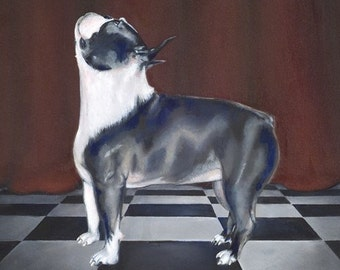 Limited Edition Fine Art Reproduction ACEO Matted Art Card - 'Still' (Boston Terrier Dog Art Print)