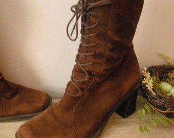 vintage brown suede leather Granny High top boots ... size 6 lace up stacked wood heels Nine West ~ hipster