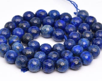 "8MM Faceted Lapis Lazuli Grade A Natural Gemstone Full Strand Round Loose Beads 15"" (100899-341)"