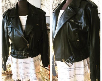 Awesome Leather Moto Jacket Women's Size M/L