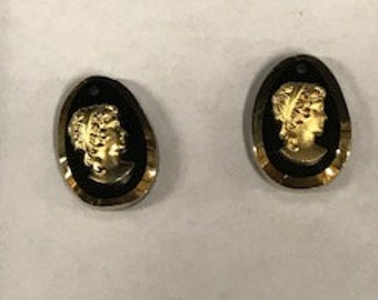 3 pcs Rare Vintage Jet/Gold Glass Cameo pendants,  20 x 14mm from West Germany