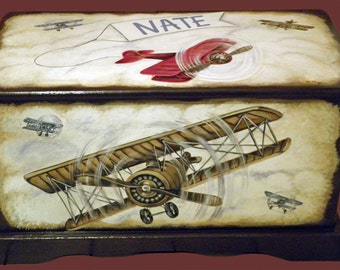 Vintage Airplane Toy Chest Custom Designed with an Espresso background, kids furniture, hand made, hand painted wooden toy box