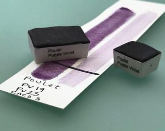 Handamade Watercolor paint  Poulet Purple Violet artist paint HALF and WHOLE pans -  Non toxic