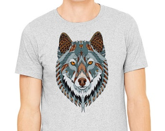 Wolf t-shirt, Gray T-shirt,Man's t-shirt, image of a wolf printed on athletic gray t-shirt