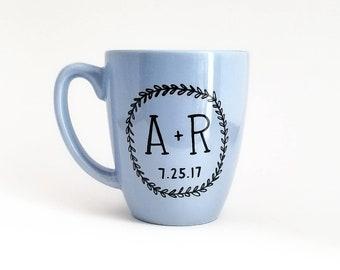 Initials Mug   Custom Mug   Name Mug   Personalized Gift   Wedding Gift   Anniversary Gift   Upcycled Mug   Ceramic Coffee Tea Mug