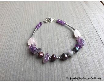 Semi-precious stone bracelet  with amethyst, rose quartz and freshwater pearl