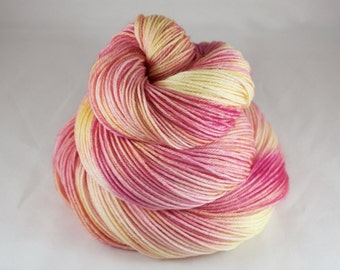 Hand Dyed Sock Yarn, hand dyed wool, variegated sock yarn, tonal sock yarn, nylon sock yarn, pink, yellow