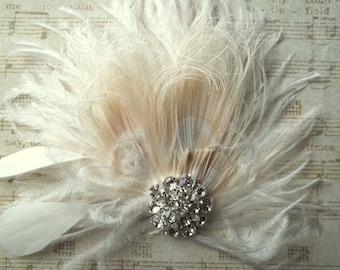 Fascinator, Feder-Haarspange, Hochzeit Accessoires, Braut Kopfschmuck, Vintage-Stil Fascinator, große Gatsby Braut Haarkamm, Kopfschmuck