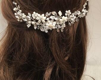 Glass pearl bridal headpiece, bridal hair comb, wedding hair comb, bridal accessories, pearl hair comb, bridal headpiece