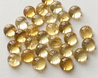 Citrine Cabochon Lot, Round Plain Calibrated Citrine, 8mm Each 10 Pieces, 23 Carats, Loose Citrine Cabochons