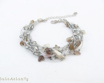 Silver gray stone bracelet with crystal on silk thread, Multistrand bracelet, agate
