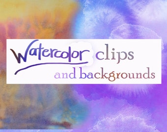 Lot of Susan's Watercolor Backgrounds, Clips and borders WATERCOLOR designs for Weddings, labels and more
