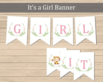 It's a Girl Printable Monkey Banner, Baby Shower Pink Monkey Bunting, Baby Girl DIY Banner, Pink Baby Shower Decor, Instant Download 306-P