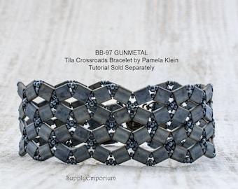 BB-97 Gunmetal BEAD PACk for Tila Crossroads Bracelet by Pamela Klein - Tutorial Sold Separately BB97