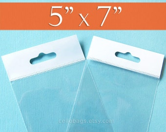 """100 5 x 7"""" Inch HANG TOP Clear Resealable Cello Bags Packaging for Hanging on Display or Peg"""