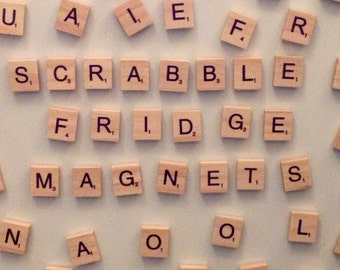 100 Piece Vintage Style Wooden Scrabble Alphabet Letter Tile Magnets