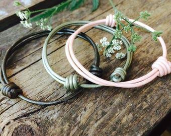 Adjustable leather cord bracelets SET of 3, Bracelet gift set, Minimalist bracelets