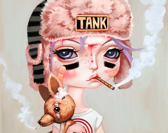 Tank Girl Art Print - Booga, pop surrealism, big eyes, pastel punk art, pastel grunge art, comic book, lowbrow art, painting 8x8