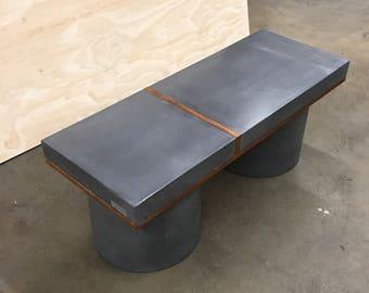 Concrete Black Bench 48