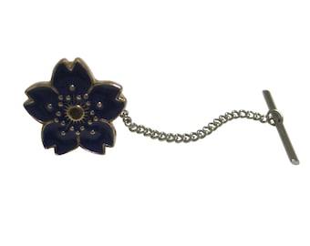 Blue Cherry Blossom Flower Tie Tack