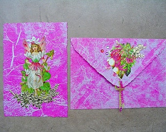 Birthday card, Wedding card, baptism card, greeting cards, art card, stationery, handmade, individual, pink, pink, fairy, Elf, Mother's Day