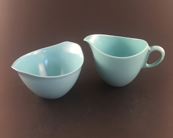Vintage Oneida Melmac Melamine Creamer Set, Turquoise Melamine Sugar Bowl and Creamer Set, Vintage Melmac Melamine Set, Made in USA