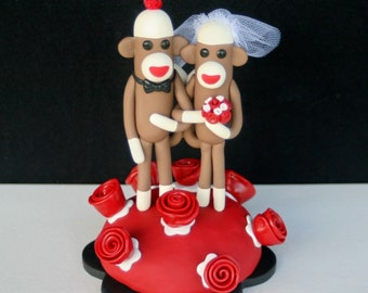 Custom 5 inch Sock Monkey Wedding Cake Topper in Your Colors