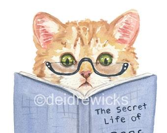 Kitten Watercolor PRINT - Ginger Cat Painting, Book Nerd, Funny Illustration, Nursery Art, Orange Tabby