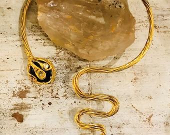 Goldtone Cleopatra Snake Sculptural Wrap Around Collar Vintage Necklace Wearable Art