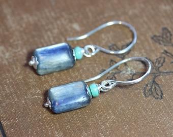 Kyanite Earrings Sterling Silver Turquoise and Blue Gemstone Earrings