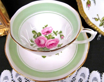 ROSLYN tea cup and saucer pink roses & green bands pattern teacup footed