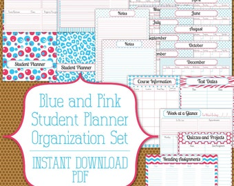 PDF Student Planner Instant Download Organization Printable Set in Bright Blue and Hot Pink