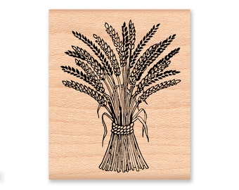 AUTUMN WHEAT Rubber Stamp~Haravest Wheat~Fall DIY Decor~Thanksginving Decorating~Wheat Bale~Wood Mounted Stamp (34-30)