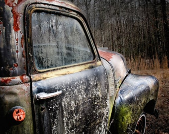 "Old Truck Photography, Vintage Chevy, Chevrolet Truck, Rusty Truck Art, Truck Wall Decor, Man Cave, Truck Art, Garage Art, Boys Room ""Rusty"""