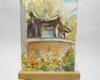 original Aceo, Chinese Pavillion, Singapore,  original aceo watercolor painting, id1709092miniature art landscape, building