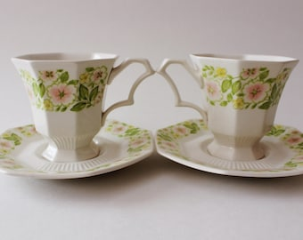 Vintage Pair of Nikko Tea Cups with Saucer Plates