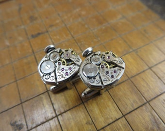 Bulova 5AD Watch Movement Cufflinks. Great for Fathers Day, Anniversary, Groomsmen or Just Because.  #354