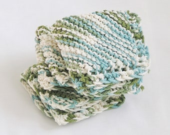 Cotton Dishcloths FaceCloths Washcloths Variegated Cream Aqua Avocado Green Hand Knitted Sets of 3 Cloths