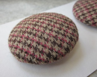 2 Large Brown Houndstooth Tweed Buttons