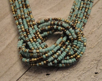 Boho Beaded Necklace, Turquoise Beaded Necklace, Turquoise, Gold, Brown beads, Beaded Jewelry, Boho Jewelry, Knotted Necklace