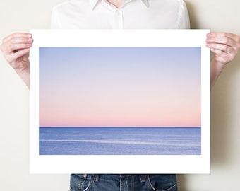 Abstract ocean photography seascape fine art print. Minimalist blue pink coastal decor, Gulf of Mexico Florida photograph, beach artwork