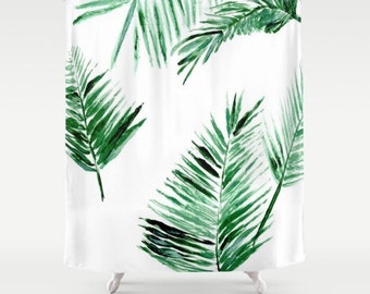 Palm Leaf Shower Curtain, Leaf Shower Curtain, Palm Leaf Shower, Botanical  Curtain,