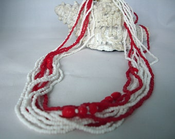 Red & White Multilayered Seed Bead Necklace -  Fashion Jewelry - Summer Necklace - Multistranded - Beaded - Gift Idea