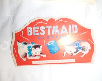 Vintage Bestmaid Kitty Sewing Needles Complete New