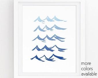 Wave art, Ocean waves, Beach print, Nautical art, Blue wall art, Beach Bathroom decor,Modern art,Painting,Printable, 5x7, 8x10, 11x14  224b2